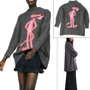Zara Knit Oversized Pink Panther Sweater (XS to S)